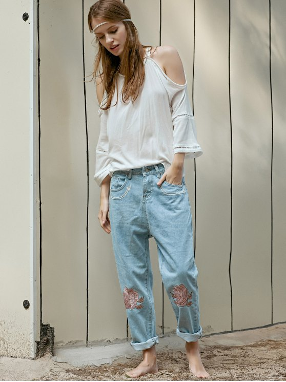 Floral Embroidery Relaxed Fit Jeans - LIGHT BLUE L Mobile
