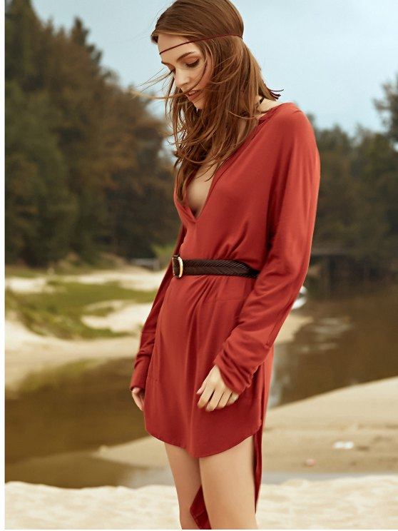 Low Cut Long Sleeve Plunge Dress - BROWN 2XL Mobile