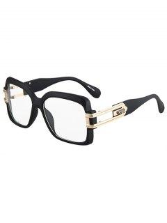 Hollow Alloy Matte Black Sunglasses - Transparent