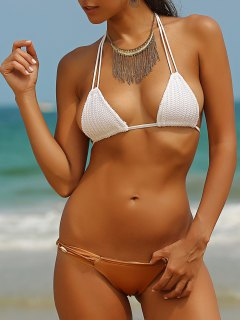 Crocheted Spaghetti Straps Shell Embellished Bikini Set - White L