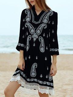 Paisley Brodé Midi Dress - Noir L