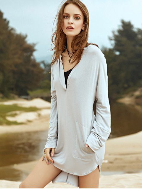 latest Low Cut Long Sleeve Plunge Dress - LIGHT GRAY L Mobile