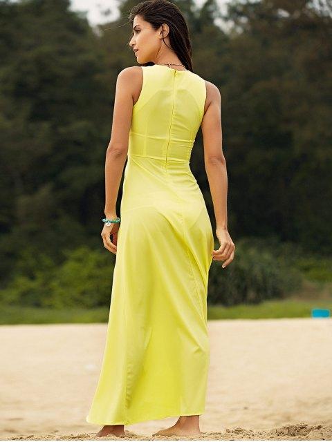 affordable Sleeveless Yellow Chiffon Maxi Dress - YELLOW XL Mobile