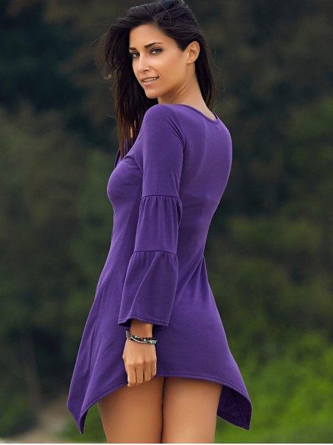 sale Solid Color Irregular HemRound Neck Flare Sleeve  Dress - PURPLE M Mobile