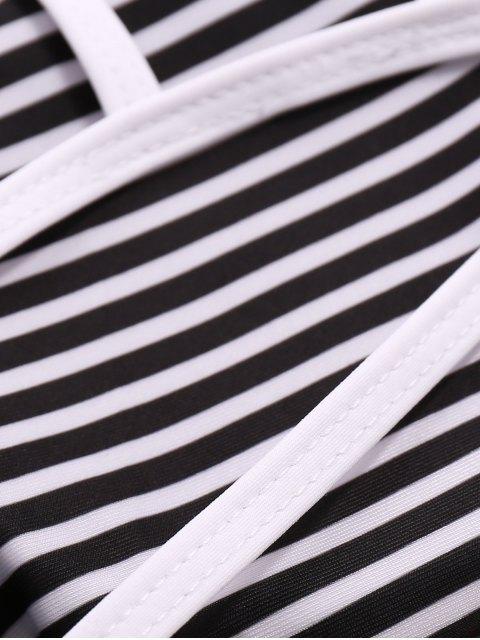 trendy Leaf Print High-Neck Bikini Set - WHITE AND GREEN M Mobile