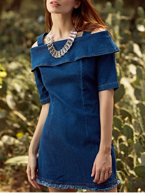 shop Flounce Ruffles Straps Half Sleeve Cold Shoulder Dress - CADETBLUE M Mobile