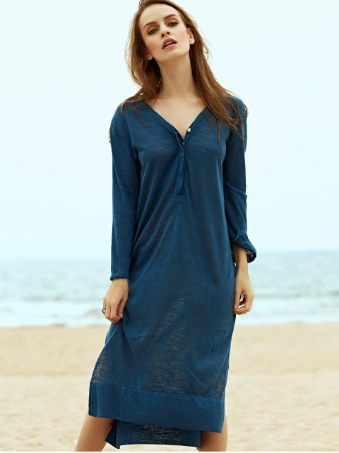 womens Side Slit Straight Dress - BLUE M Mobile
