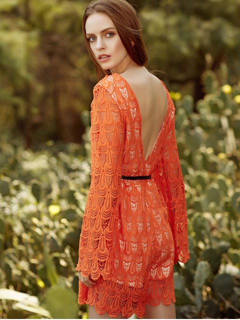 fancy Backless Short Lace Dress With Flare Sleeves - DARKSALMON XL Mobile