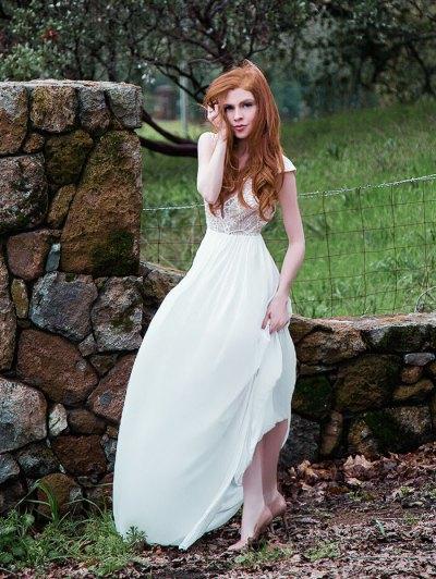 Chiffon Plunging Neck Sleeveless White Maxi Dress - White