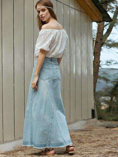 Denim Slit High Waisted Skirt - LIGHT BLUE M Mobile