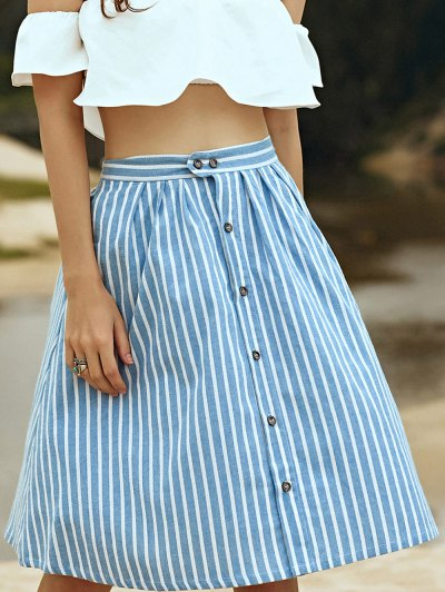 A-Line Striped Single-Breasted Skirt - Blue And White One Size(fit Size Xs To M)