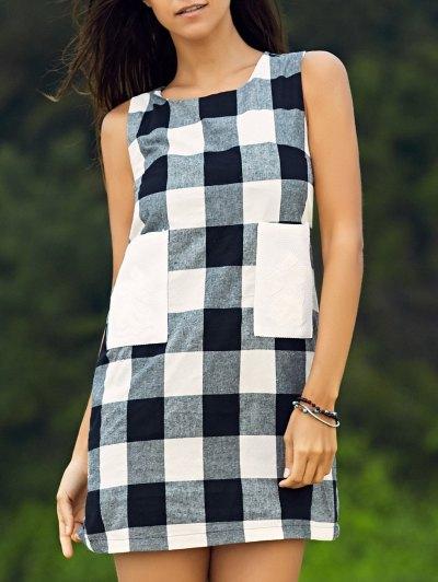 Sleeveless Plaid Shift Dress - WHITE AND BLACK M Mobile