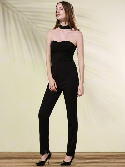 Cut Out Stand Neck Solid Color Jumpsuit - BLACK M Mobile