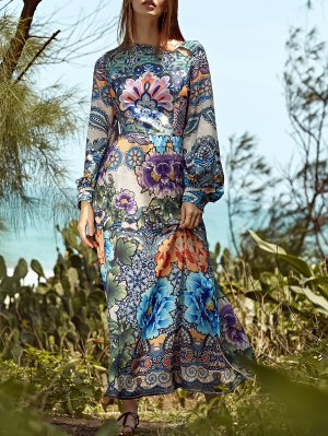 Full Floral Round Neck Long Sleeve Maxi Dress