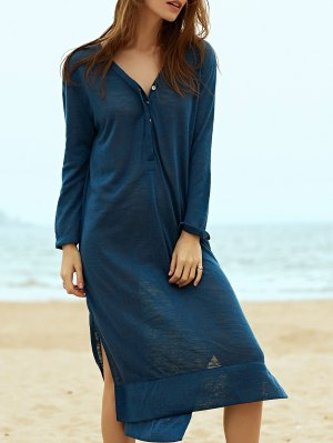 Side Slit Straight Dress - Blue