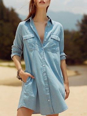 Two Pockets Light Blue Overshirt Chambray Shirt - Light Blue