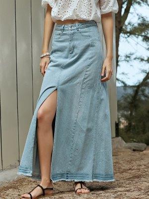 Denim Slit High Waisted Skirt - Light Blue