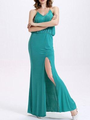 High Slit Cami High Waisted Formal Maxi Dress - Mint Green