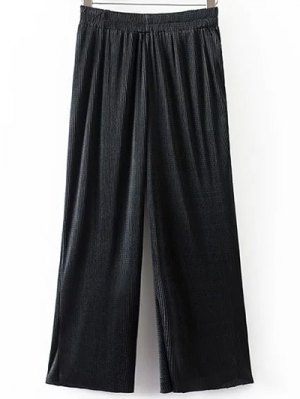 Pleated Elastic Waist Wide Leg Pants - Black