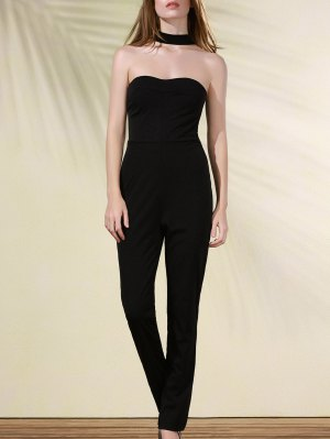 Cut Out Stand Neck Solid Color Jumpsuit - Black