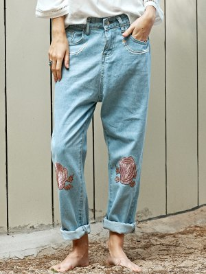 Floral Embroidery Relaxed Fit Jeans - Light Blue