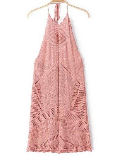 Halter Backless Solid Color Crocheted Dress