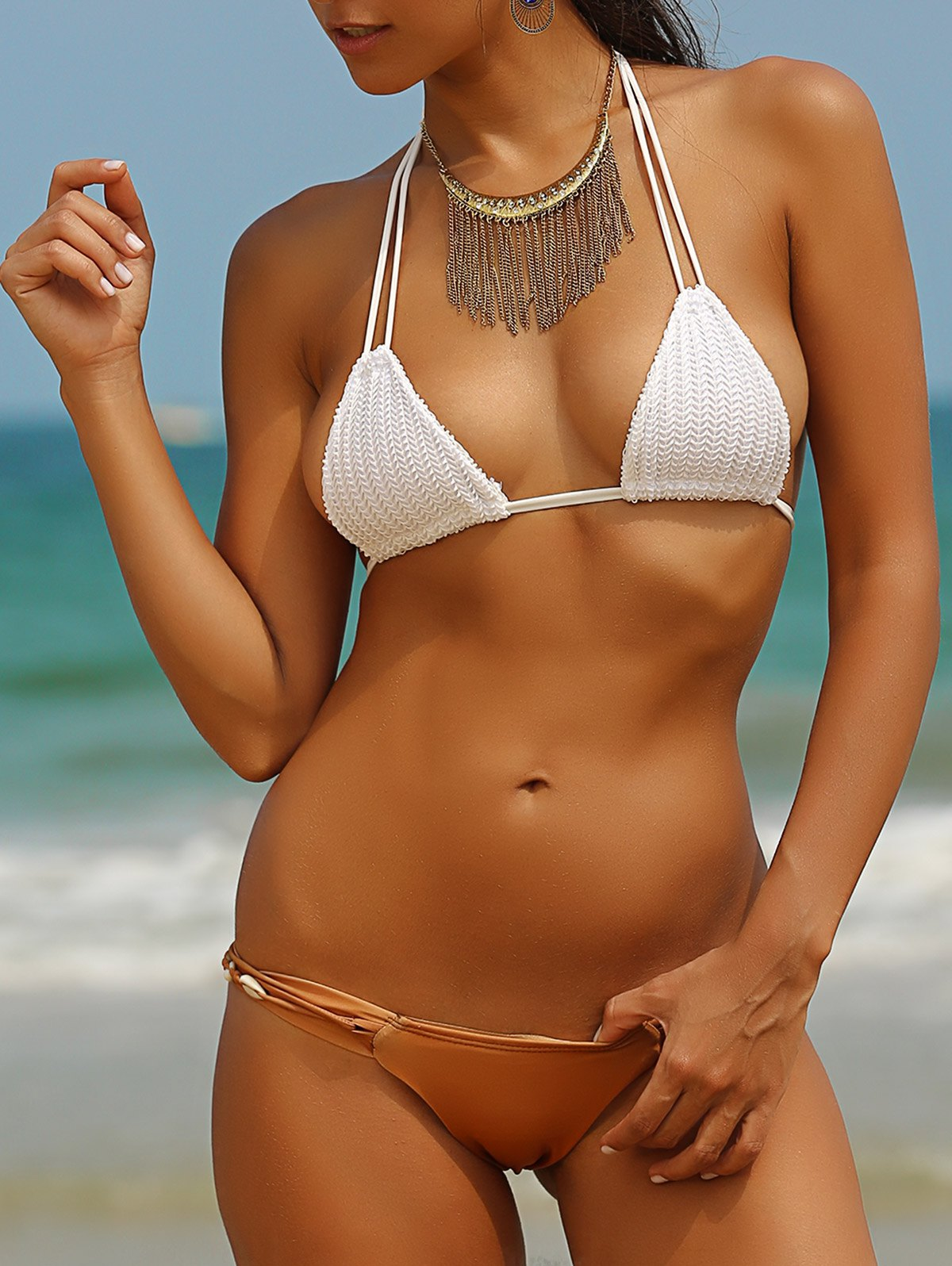 Spaghetti Straps Crocheted Shell Embellished Bikini Set