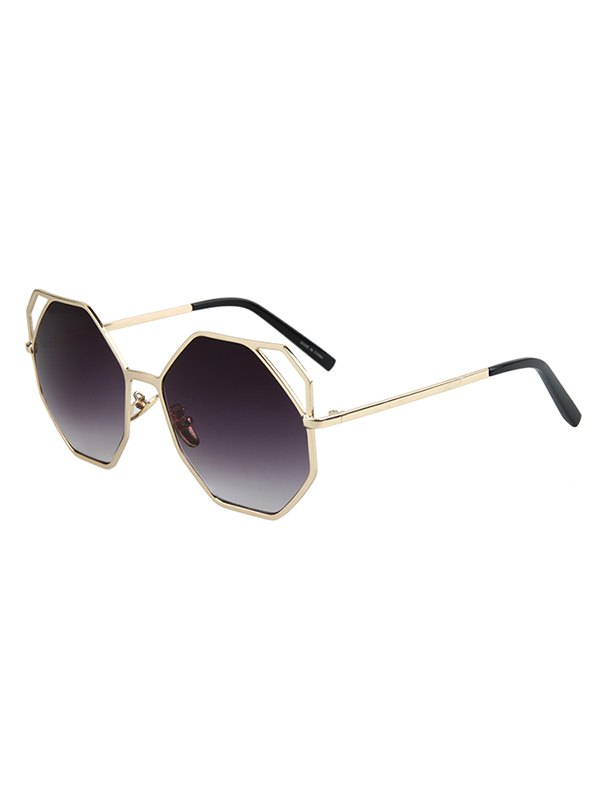 Hollow Out Polygonal Frame Golden Sunglasses