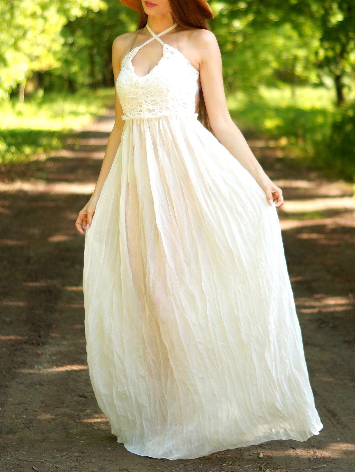 Rochie lungă, casual, din dantelă,cu spatele gol