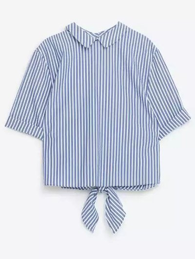 Turn Down Collar Short Sleeve Striped Self Tie Shirt