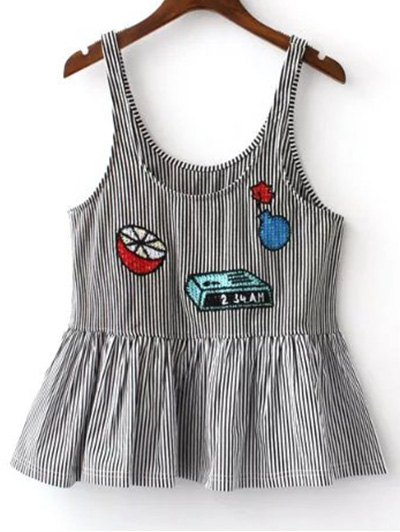 Embroidery Striped U Neck Tank Top