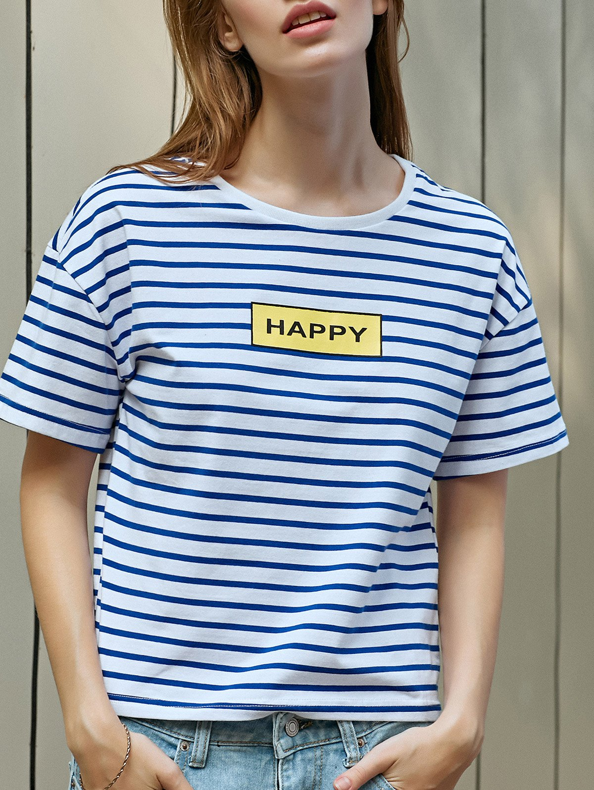 Striped Letter Print T-Shirt