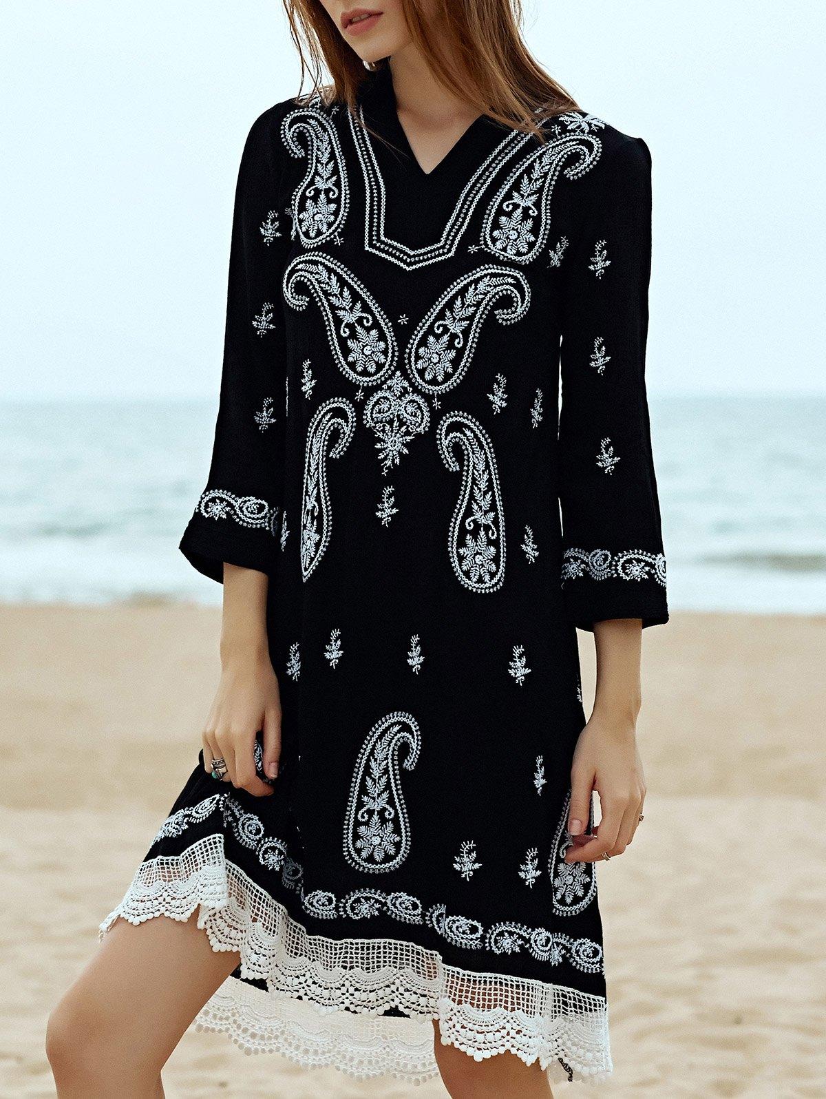 V-Neck 3/4 Sleeve Paisley Embroidered Midi Dress