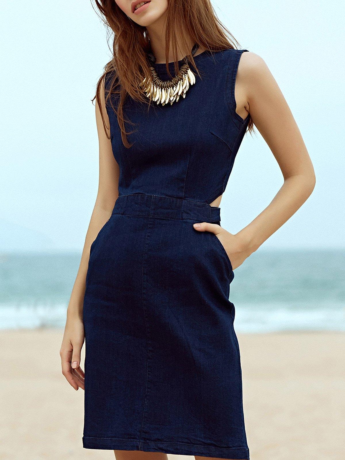 Round Neck Sleeveless Blue Denim Cut Out Dress