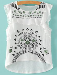 Flouncing Round Neck Embroidery Blouse