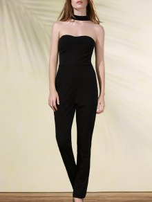 Cut Out Stand Neck Solid Color Jumpsuit