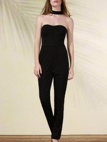 Cut Out Stand Neck Solid Color Jumpsuit - Black