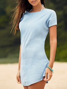 Solid Color Tied Round Neck Bat-Wing Sleeve Denim Dress - Light Blue