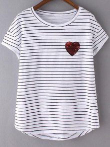 Sequined Heart Striped T-Shirt