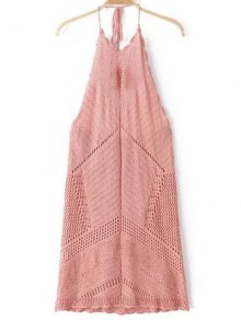Backless Halter Solid Color Crocheted Dress - Pink