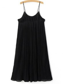 Pleated Empire Waist Strap Dress - Black