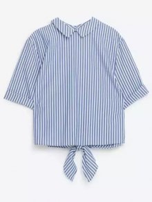 Striped Turn Down Collar Short Sleeve Self Tie Shirt