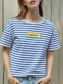 Buy Striped Letter Print T-Shirt - BLUE/WHITE L