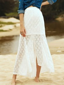 High-Low Hem Solid Color Lace Spliced Skirt - White L