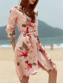 Shirt Collar Tropical Print Belted Dress - Pink S