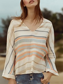 V-Neck A-Line Striped Top