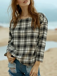 Round Neck Long Sleeve Plaid Top