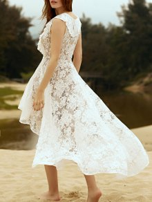 High Low Hem Plunging Neck Lace Up Lace Dress - White S