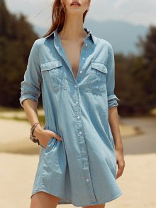 Two Pockets Light Blue Overshirt Chambray Shirt - Light Blue S