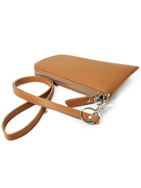 Zip Solid Color PU Leather Coin Purse - BROWN  Mobile